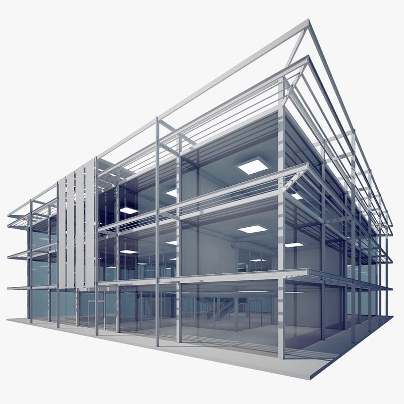 3d model modern glass office building