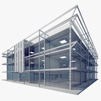3d model modern glass office building