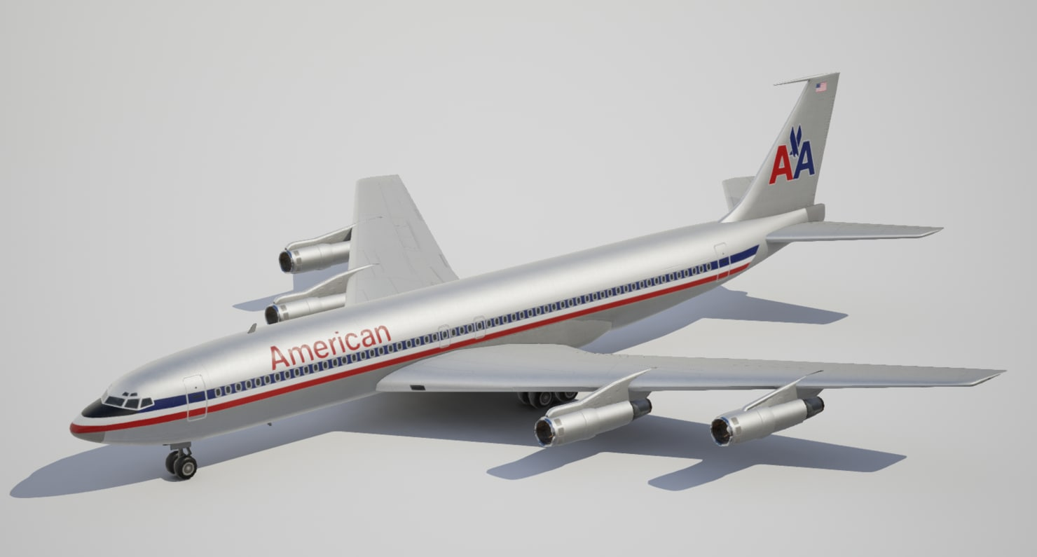 low-poly boeing american airlines 3d max