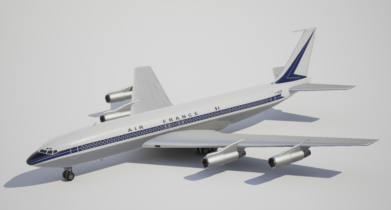 3d low-poly boeing airfrance