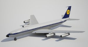 3d low-poly boeing lufthansa