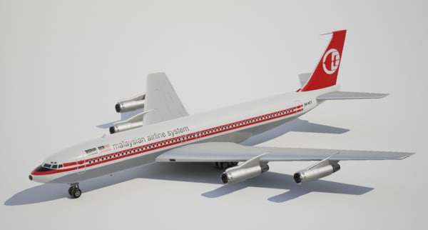 3d model low-poly boeing malaysian airline