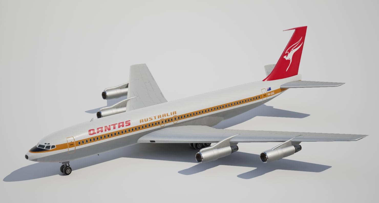 low-poly boeing qantas 3d model
