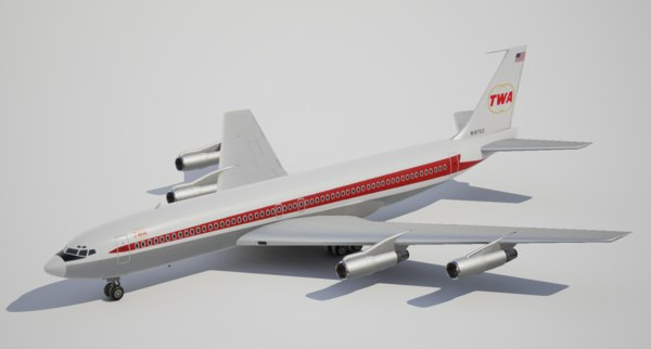 low-poly boeing trans world 3d obj