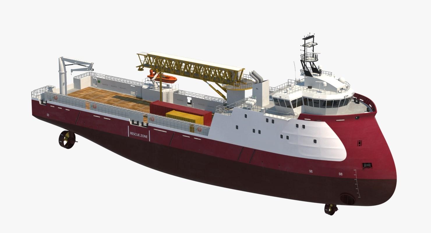 3d model offshore platform supply vessel