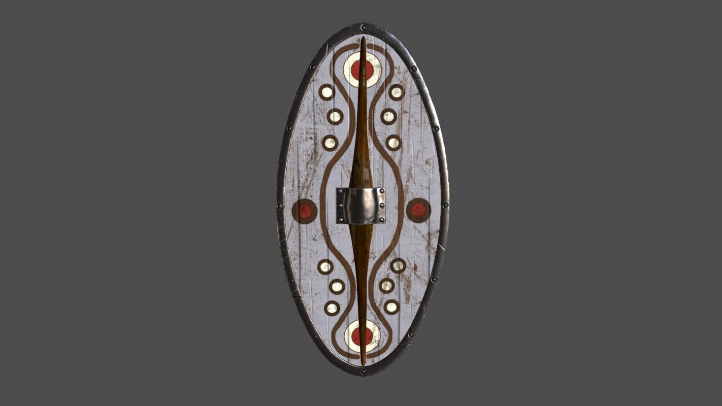 3d almond shaped shield model
