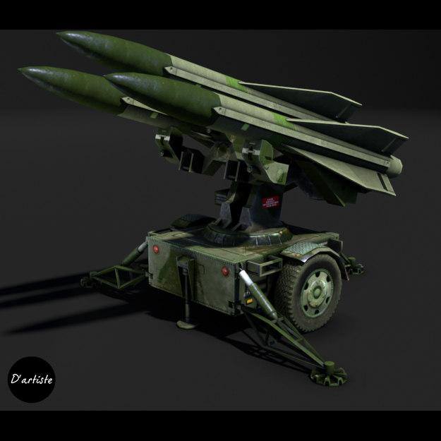 mim-23 hawk launcher 3d model