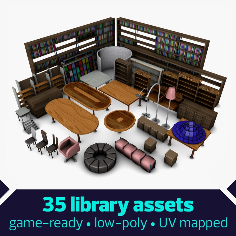 low-poly library games c4d