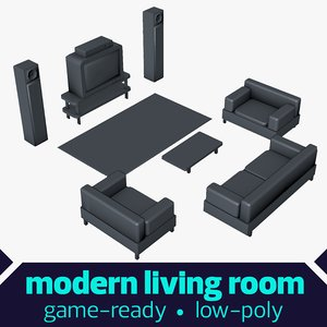 stylized living room 3d dxf