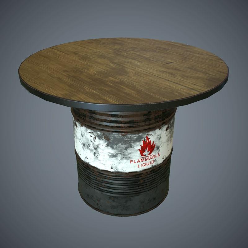 oil drum desk pbr 3d x