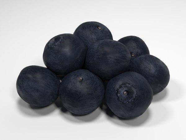 3d blueberries blue