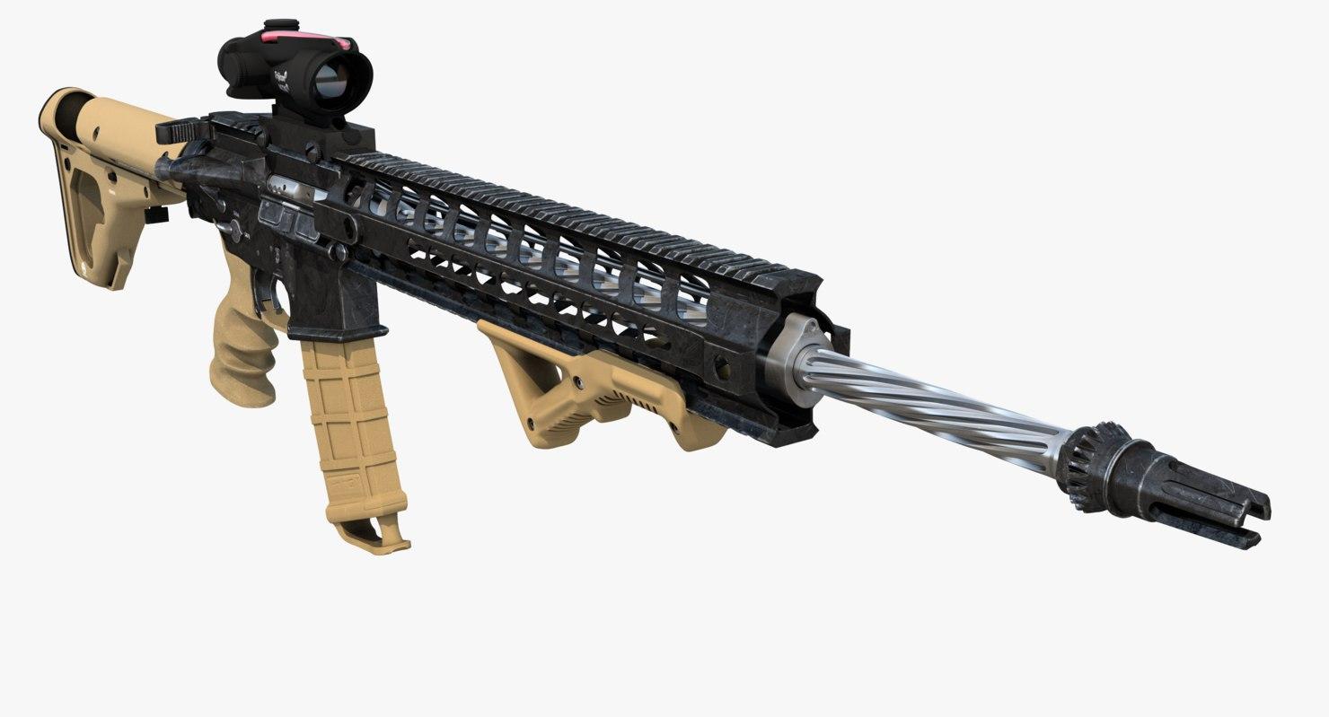 assault rifle ar-15 3d max