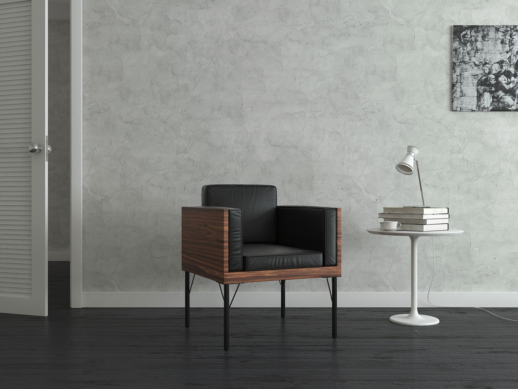 3d model contemporary borough leather chair