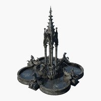 3d gothic fountain water model