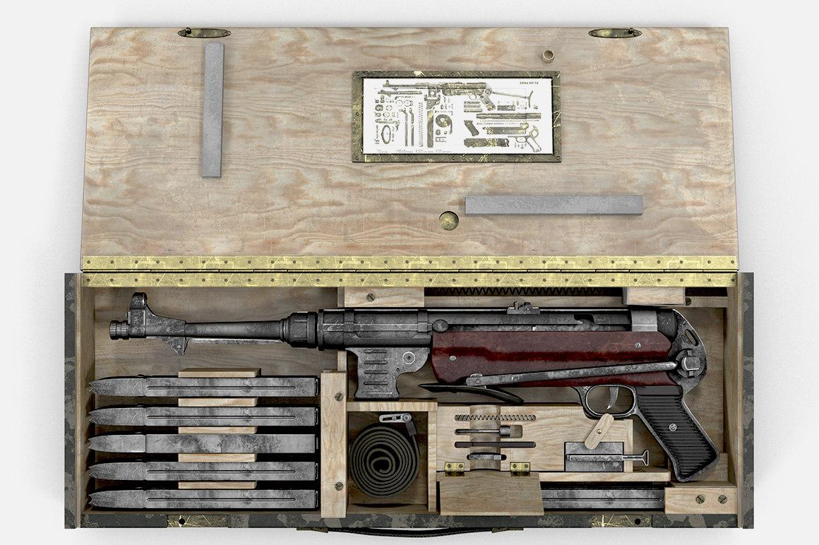 german submachine gun 3d max
