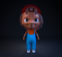 3d red cap kid