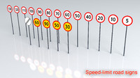 3d signs speed limits model