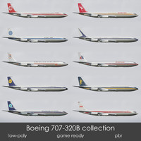 3d low-poly boeing 707-320b