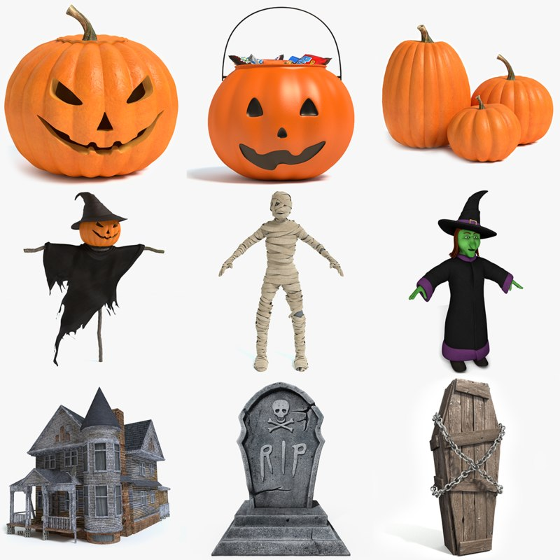 3d halloween jack-o-lantern pumpkins model