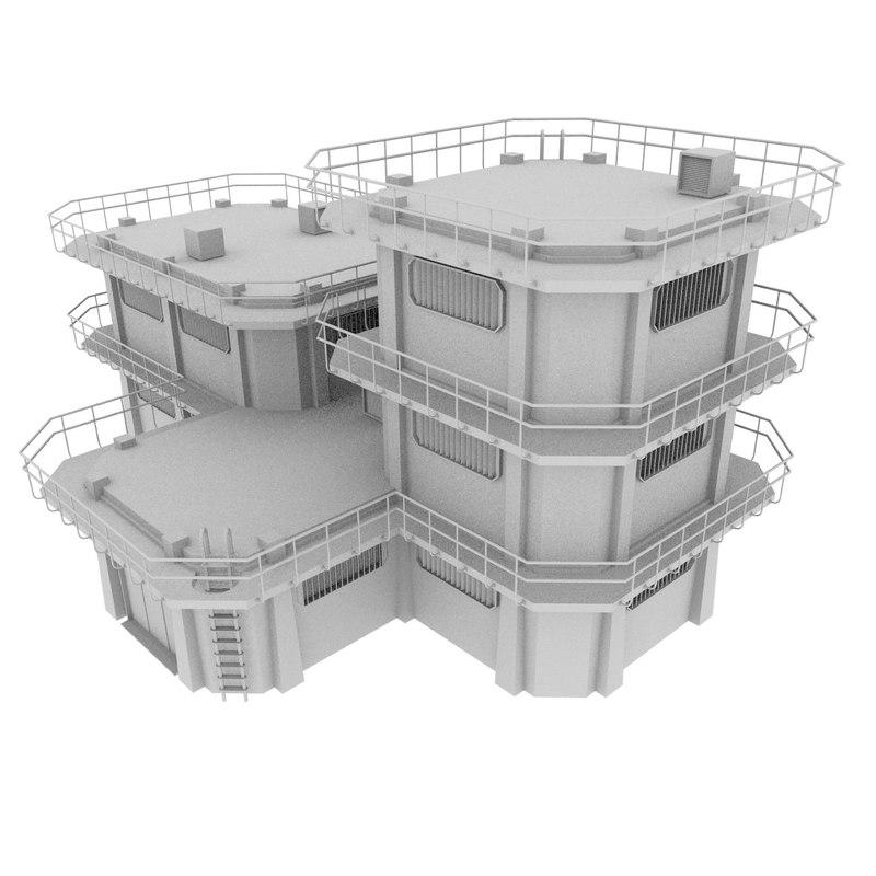 blender large colony building 3d model