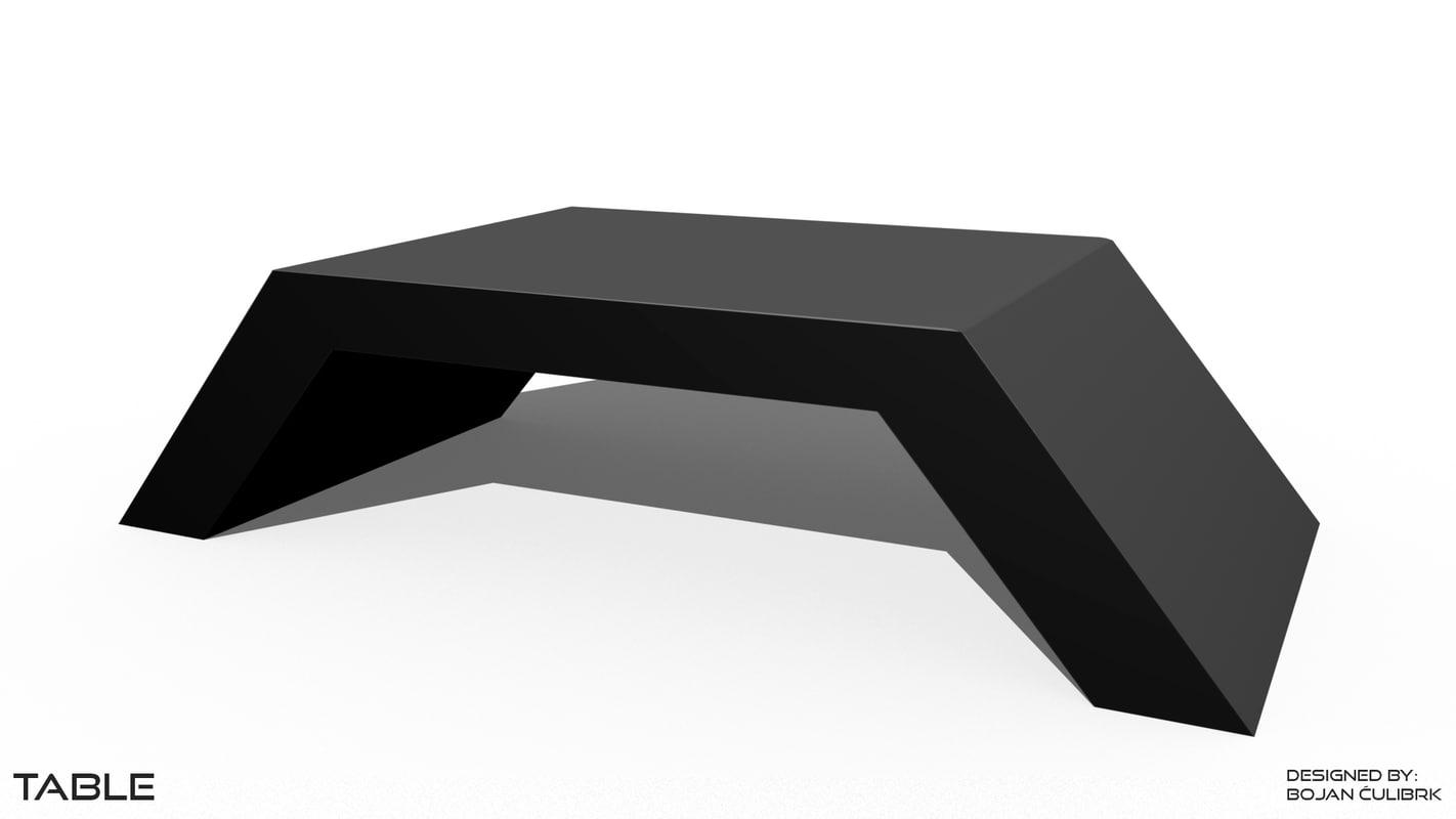 futuristic table set 3d obj