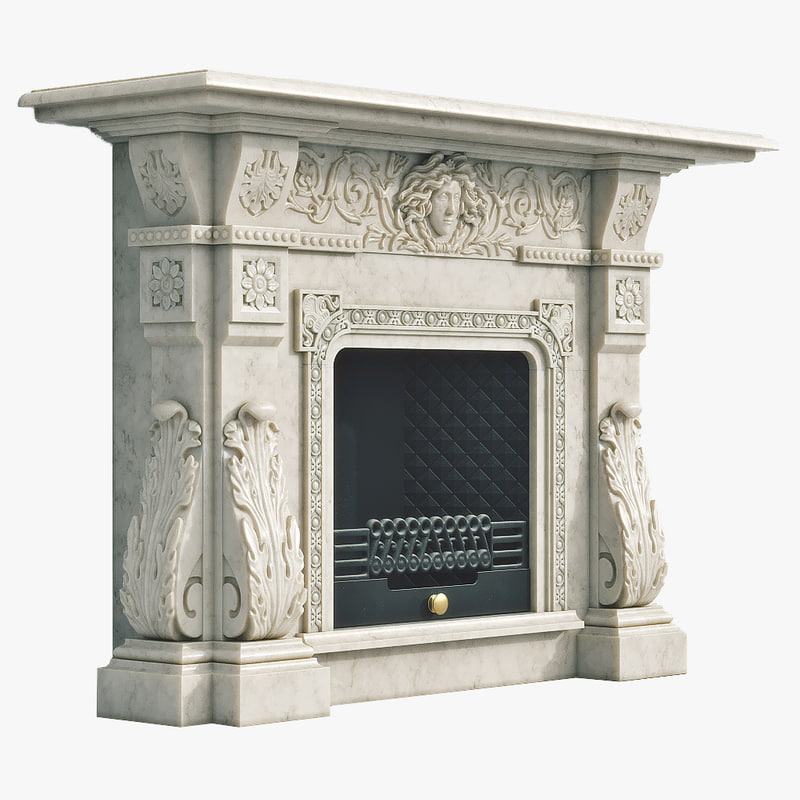fireplace marble 3d model