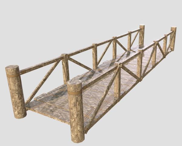 wooden modular bridge 3d model