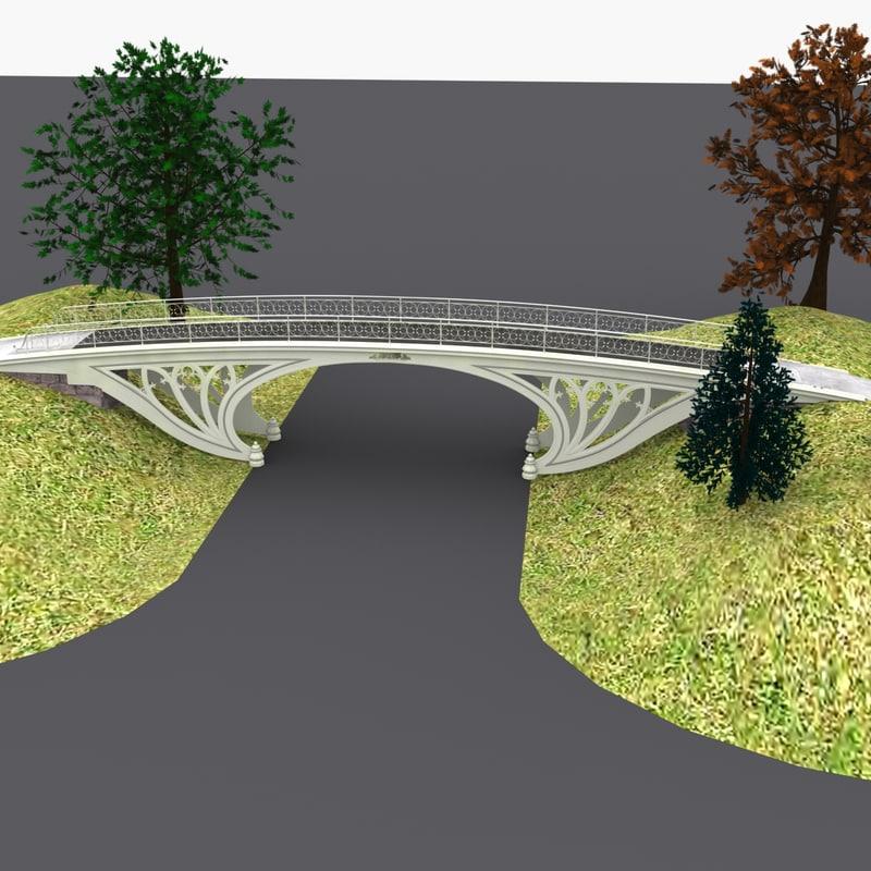 3d model central park gothic bridge