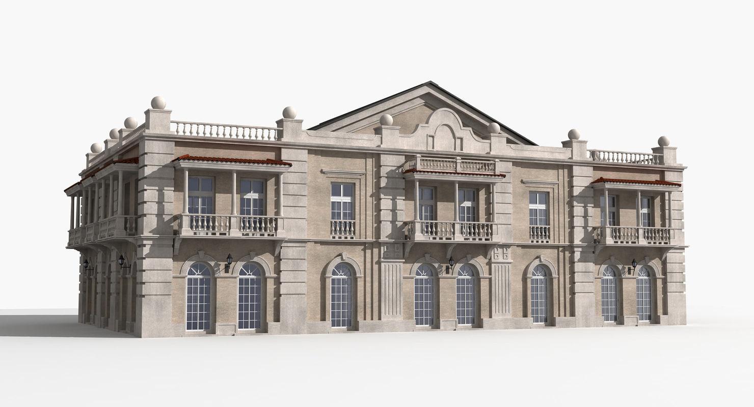 mansion residential building 3d model