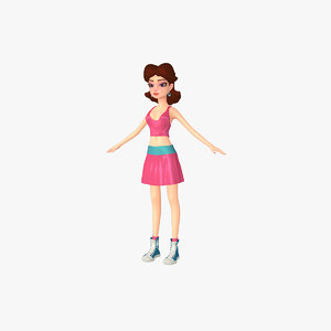 cartoon female 3d model