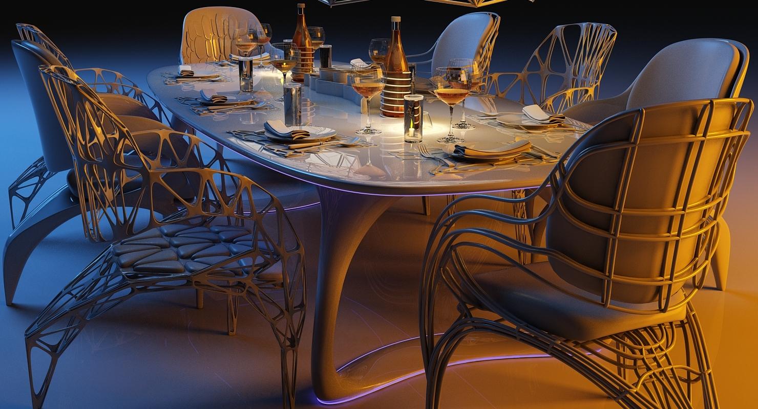 Ensemble de manger salle futuriste à OPkX08nw