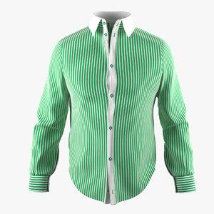shirt green stripe 3d model