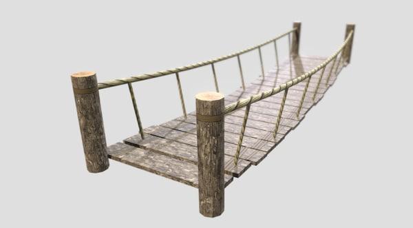 rope bridge 3d obj