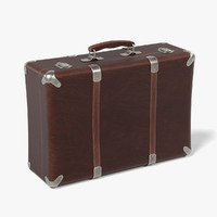 3d model old leather suitcase