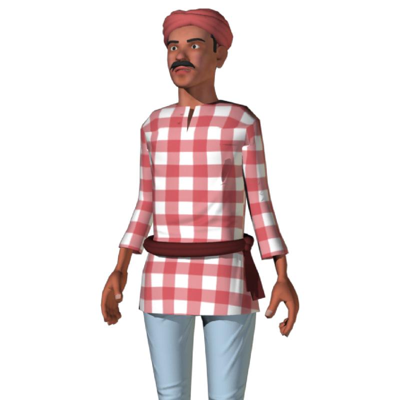 3d model rigged indian farmer human