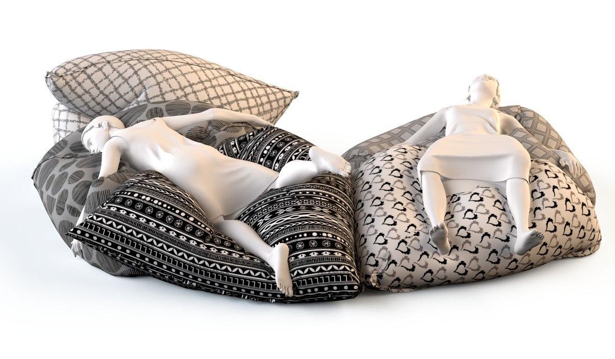 3d model floor cushions chairs lie