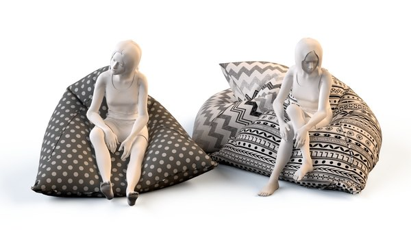 floor cushions chairs 3d model