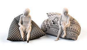 floor cushions chairs 3d model