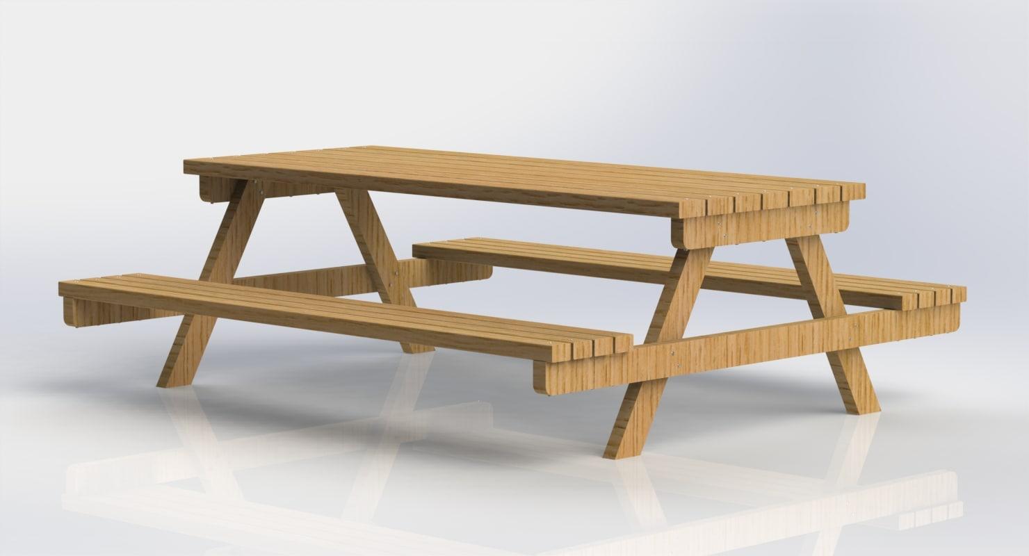 3d garden picnic table model