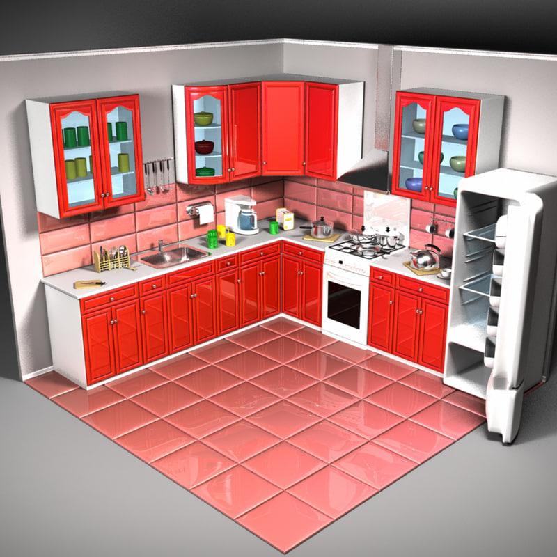 cartoon kitchen 3d 3ds