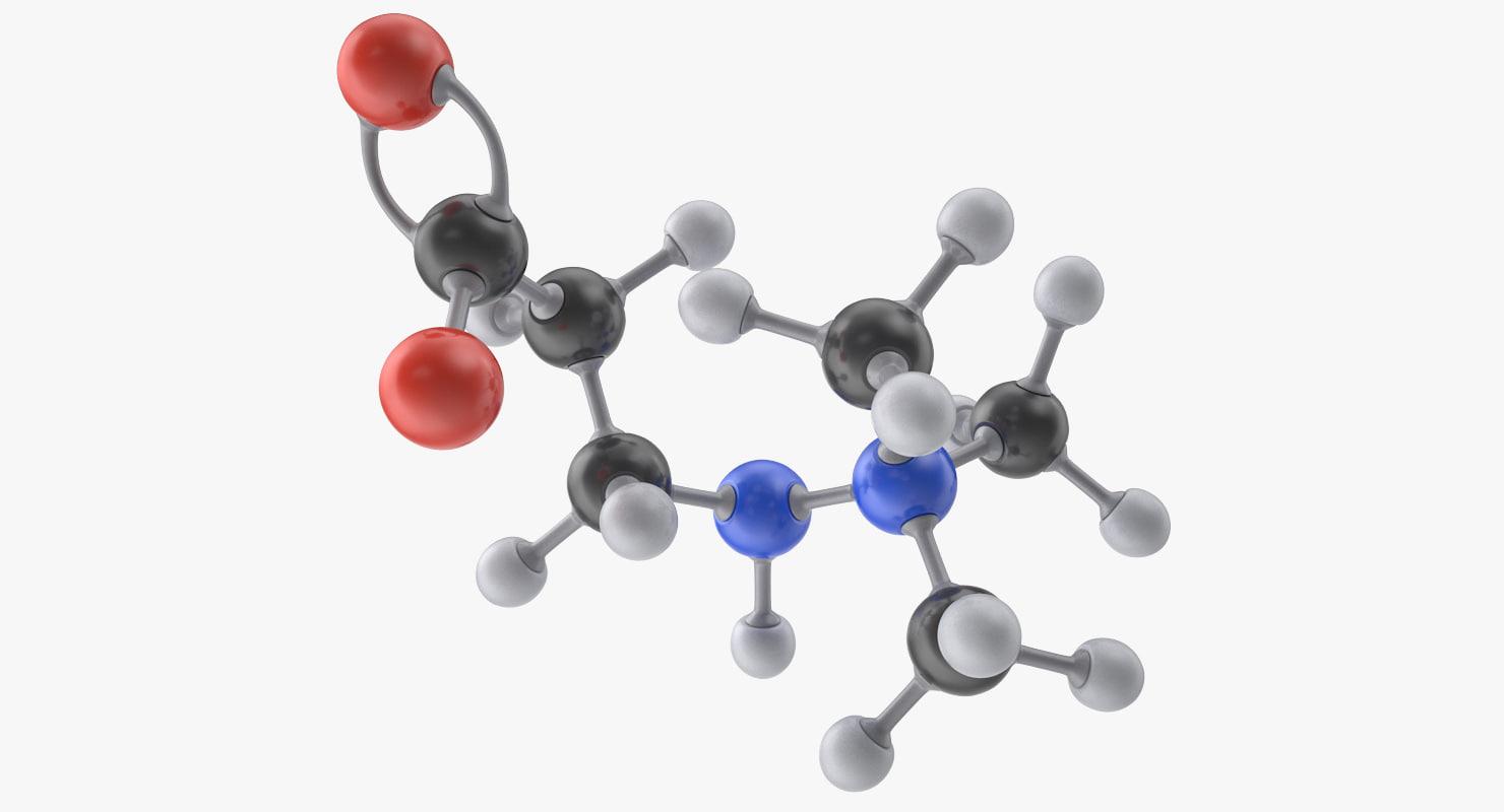 3d meldonium molecule model