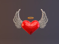 3d heart angel