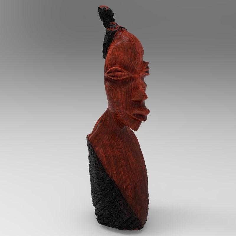 3d african woman statue model