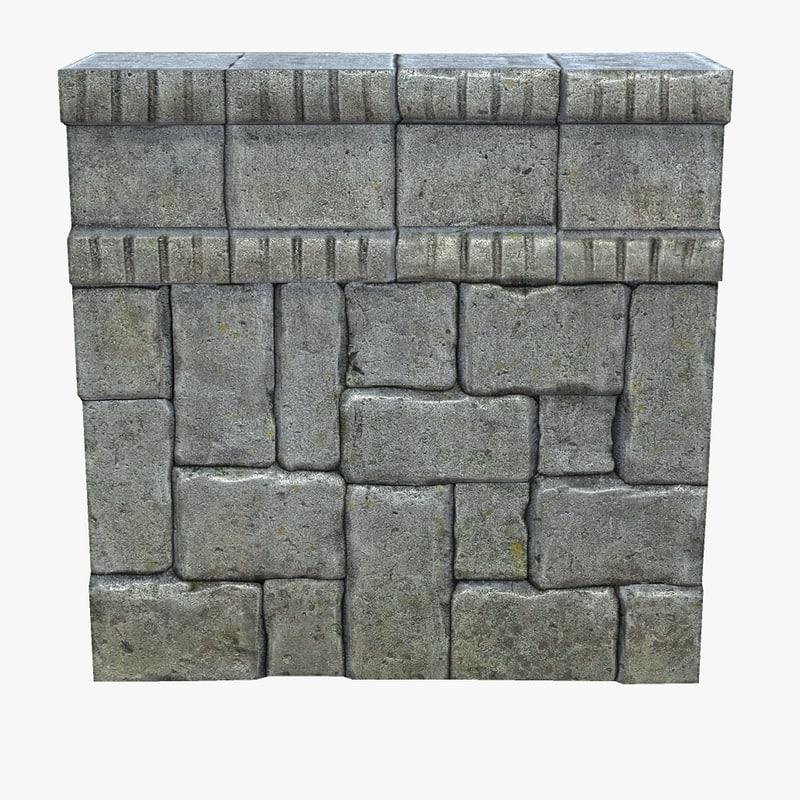 3d model of stone wall modular set