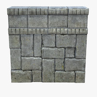 3d model of stone wall modular set