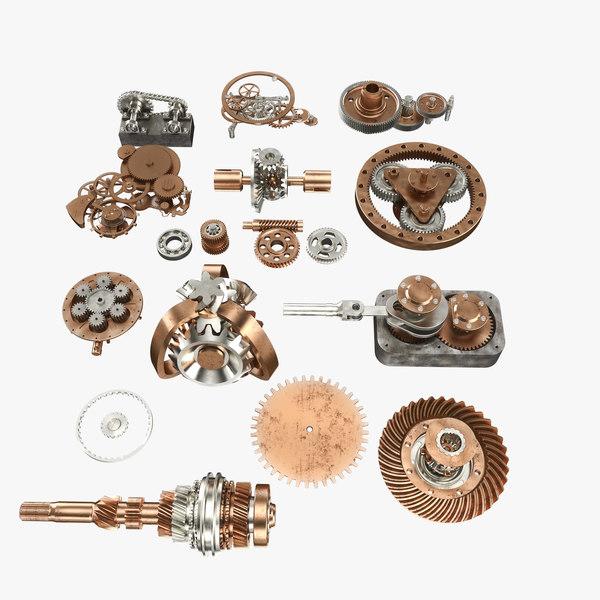 3d model mechanism wheels