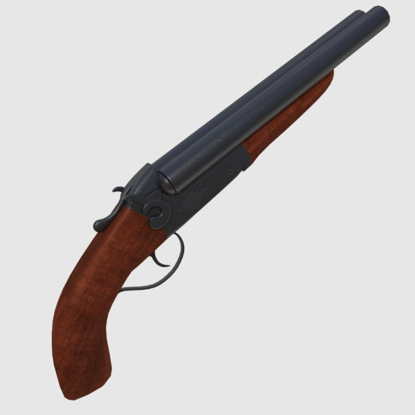 3d model sawed shotgun gun