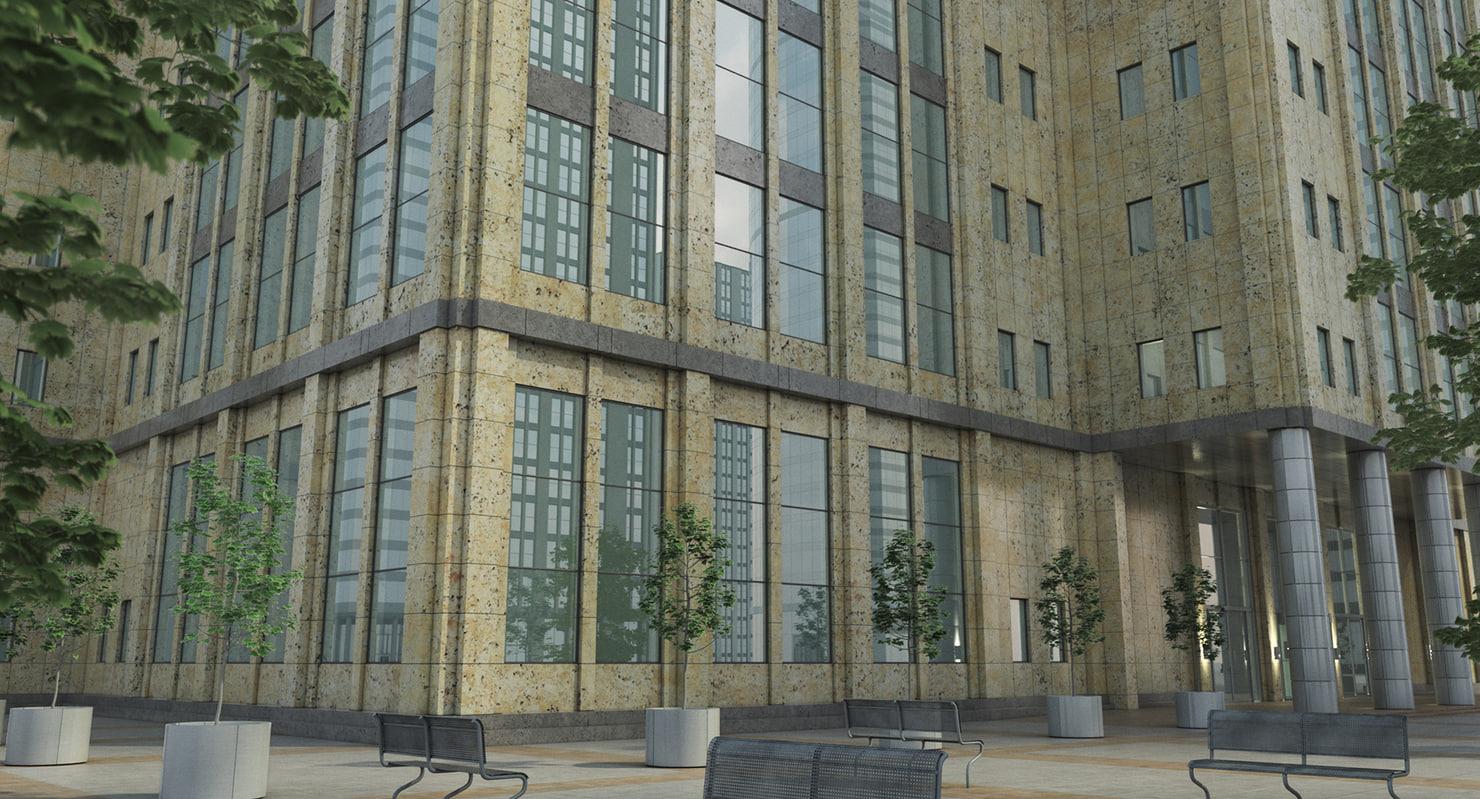 obj tall building entrance area