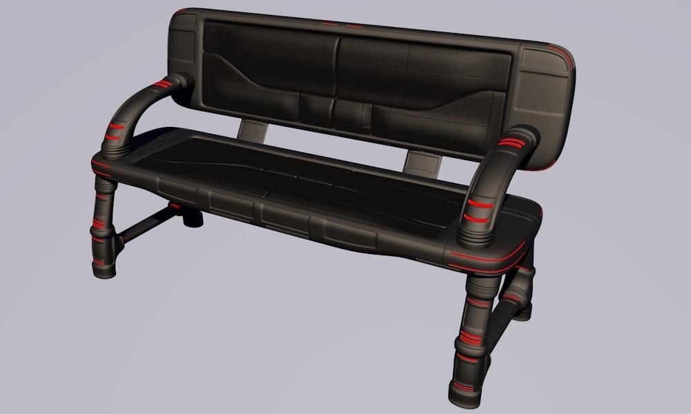 3d bench sci-fi furniture