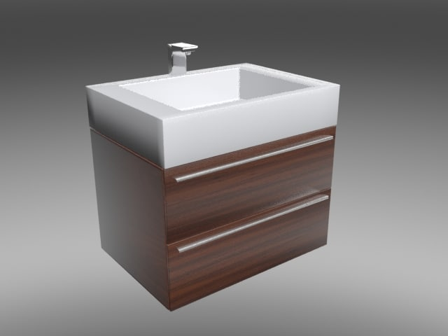 3d square bathroom vanity model